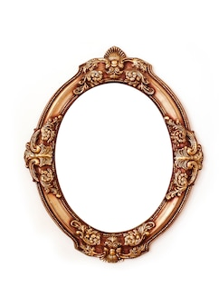 Blank golden round frame isolated