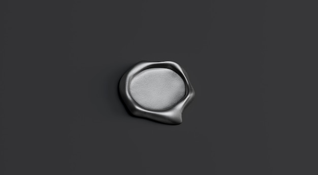 Blank gray wax stamp mock up, isolated on black background, depth of field