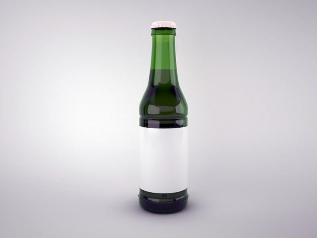 Blank green beer bottle