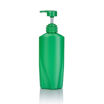 Blank green plastic pump bottle used for shampoo or soap.