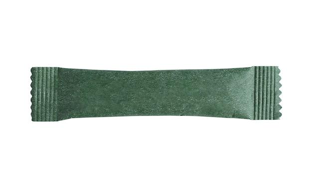 白い背景で隔離の空白の緑のスティックサシェパッケージ