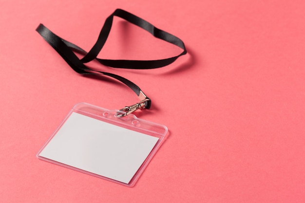 Blank  greeting card or tag  on pink