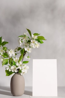 Blank greeting card and tree blossoms in vase in sunlight