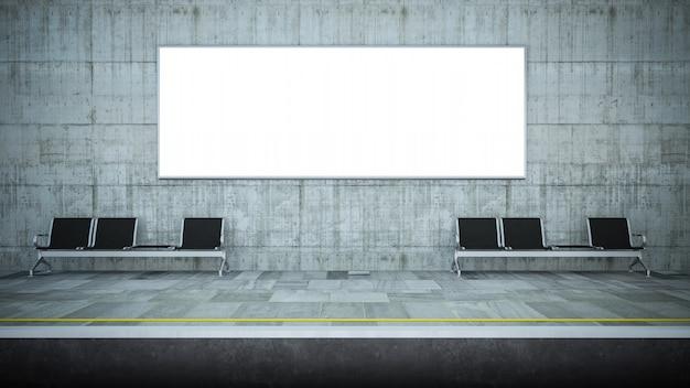 Пустой горизонтальный рекламный щит на станции метро