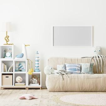 현대 키즈 침실 인테리어 스칸디나비아 스타일의 빈 가로 프레임, 3d 렌데