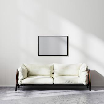 흰색과 검은색 소파, 현대적인 거실 배경, 3d 렌더링을 갖춘 스칸디나비아 미니멀리즘 스타일의 거실 내부에 있는 빈 수평 프레임