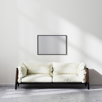 Blank horizontal frame mock up in scandinavian minimalistic style living room interior with white and black sofa, contemporary living room background, 3d rendering