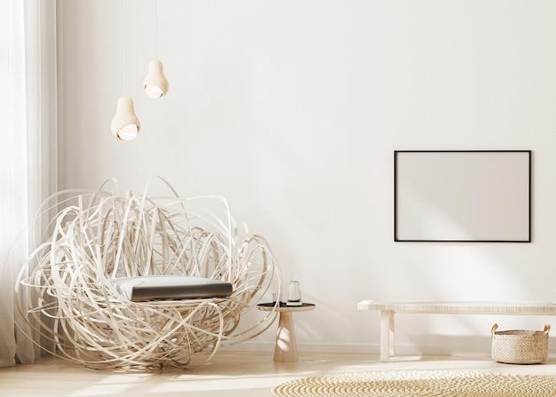 현대 거실 인테리어 배경에서 벽에 빈 가로 프레임