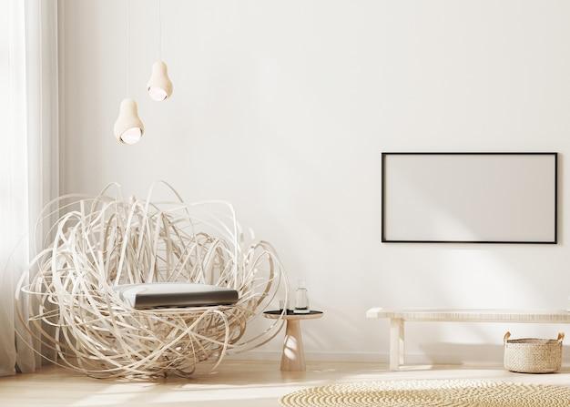 밝은 베이지 톤의 현대 거실 인테리어 벽에 빈 가로 프레임