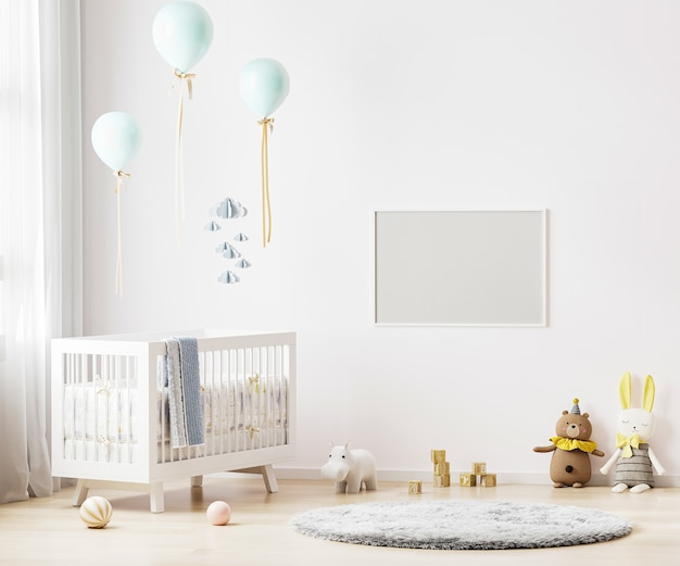 아기 침구와 보육실 내부 배경에 흰 벽에 빈 가로 프레임