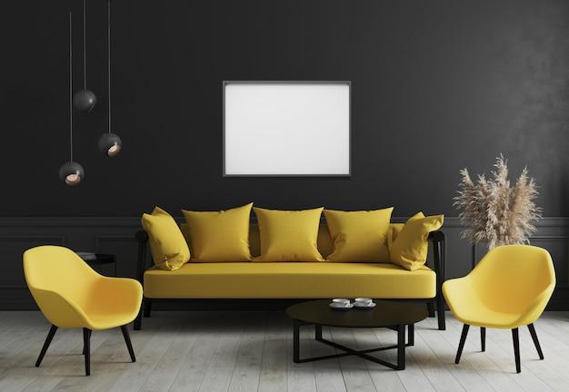 빈 가로 액자 검은 벽과 세련된 노란색 소파와 커피 테이블 근처에 디자인 안락 의자와 현대적인 객실 인테리어에 조롱