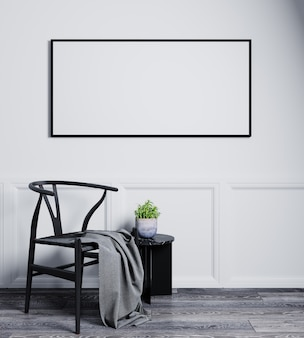 Blank horizontal picture frame mock up in modern interior background with empty white wall