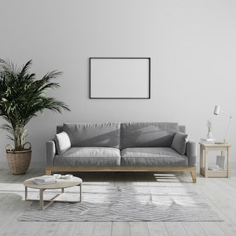Blank horizontal picture frame mock up in modern minimalist living room interior with gray sofa and palm tree