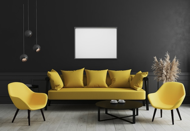 Blank horizontal picture frame mock up in modern room interior  with black wall and stylish yellow sofa and design armchair near coffee table