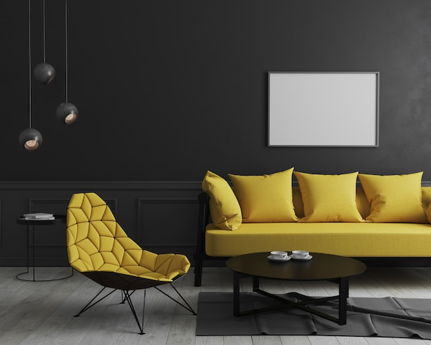 Blank horizontal picture frame mock up in modern room interior  with black wall and stylish yellow sofa and design armchair near coffee tableg