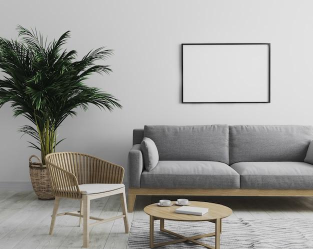 회색 소파와 나무 안락 의자, 야자수와 커피 테이블, 스칸디나비아 스타일, 3d 렌더링 회색 톤의 현대적인 인테리어 거실에서 빈 가로 액자 이랑