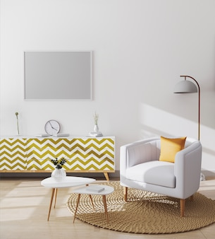 Blank horizontal picture frame in stylish scandinavian living room interior of modern apartment with white armchair and yellow pillowe, coffee table and cabinets, living room mockup, 3d rendering