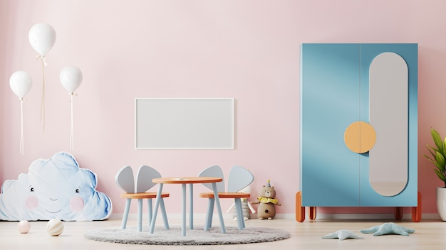 분홍색 벽과 아름다운 어린이 방 인테리어에 빈 가로 포스터 프레임