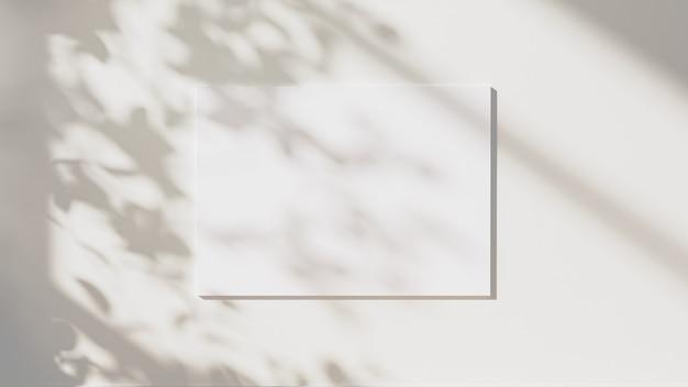 빈 수평 포스터는 중립적인 흰색 벽 배경, 3d 그림에 나뭇잎 그림자와 햇빛으로 조롱합니다.