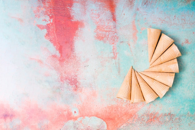 Blank ice cream wafers on colorful background