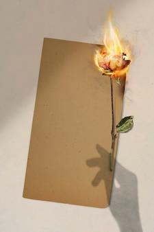 空白のクラフト紙、デザインスペースでバラの美的燃焼炎効果