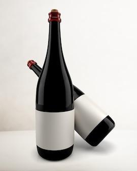 빈 레이블, 레드 와인 병 음료 포장 및 브랜딩