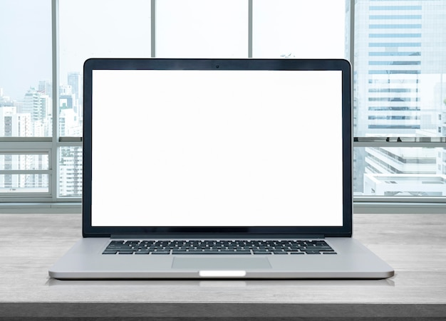Blank of laptop screen at office
