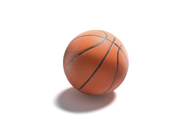 空白の革のバスケットボールボールは、分離されたバスケットプレーヤーのモックアップのための空のゴム球をモックアップします