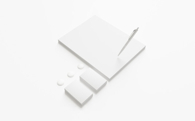 Blank letterhead and business cards isolated on white.