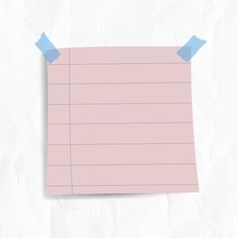在皱巴巴的纸背景上用胶带固定的空白衬里便条纸