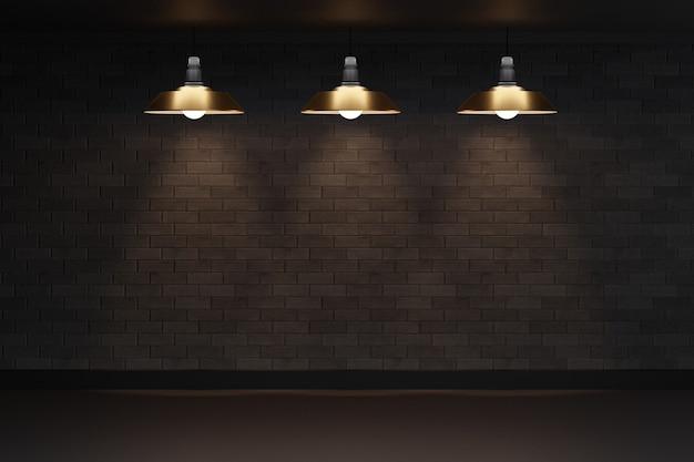 Пустая темная комната в стиле лофт с черной кирпичной стеной, черным полом и ретро-лампой. 3d визуализация иллюстрации.