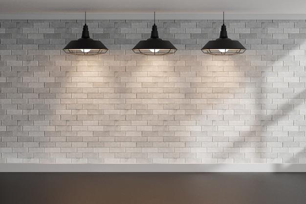 Пустая белая комната в стиле лофт с кирпичной стеной, черным полом и солнечным светом. 3d визуализация иллюстрации.