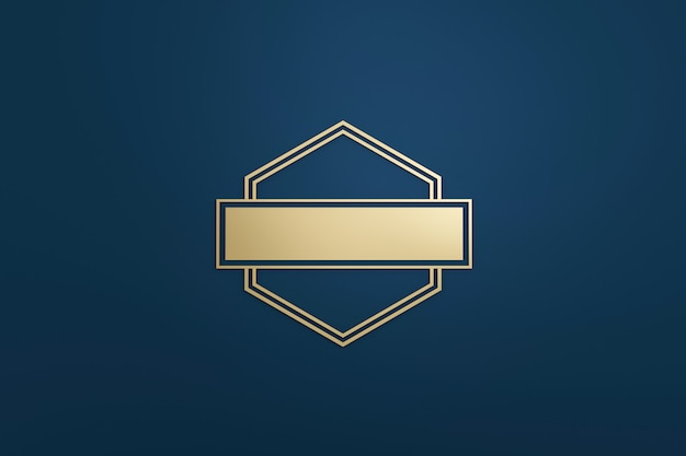 Blank logo frame and golden label with modern style on dark blue background. empty template for design emblem and diamond shape. 3d rendering.