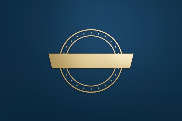 Blank logo frame and golden label with modern style on dark blue background. empty template for design emblem and round shape. 3d rendering.