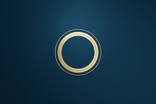 Blank logo frame with modern style on dark blue background. empty template for design emblem and round shape. 3d rendering.
