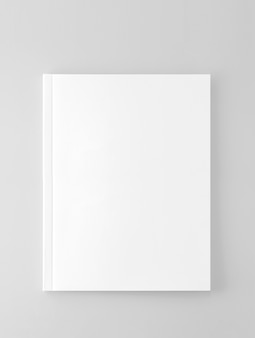 Blank magazine, book cover template on gray background