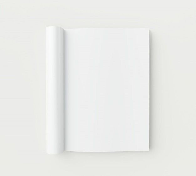 Blank magazine pages on white background.