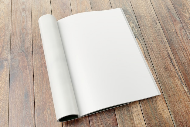 Blank magazine pages on wooden background.