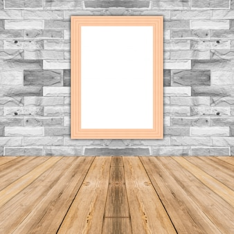 Blank maize wooden photo frame leaning at white brick wall,template mock up for adding your design and leave space beside frame for adding more text.