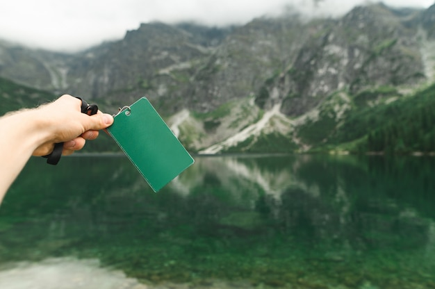 Blank map on the background of lake morskie oko, tatra mountains.