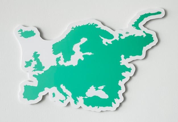 ヨーロッパと国の白地図
