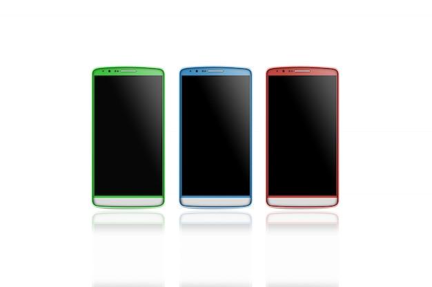 分離された空白のスマートフォン画面モックアップセット