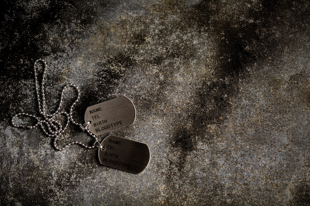 Blank military dog tags on abandoned rusty metal plate. memories and sacrifices concept.