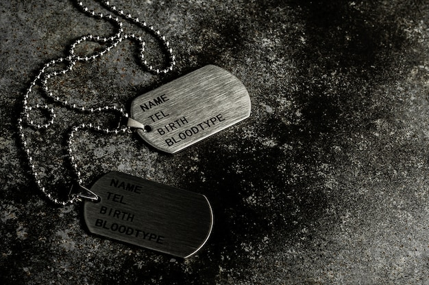 Blank military dog tags on abandoned rusty metal plate.
