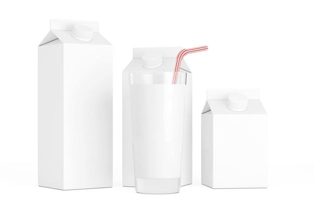 白い背景の上のミルクのガラスと空白のミルクカートンボックス。 3dレンダリング