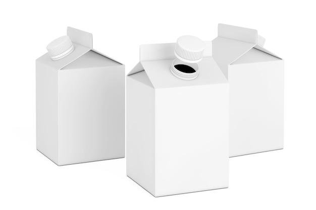 Пустые картонные коробки для молока или сока на белом фоне. 3d рендеринг