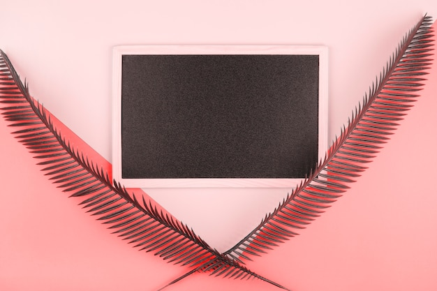 Blank miniature blackboard decorated with palm leaves over the pink and coral backdrop