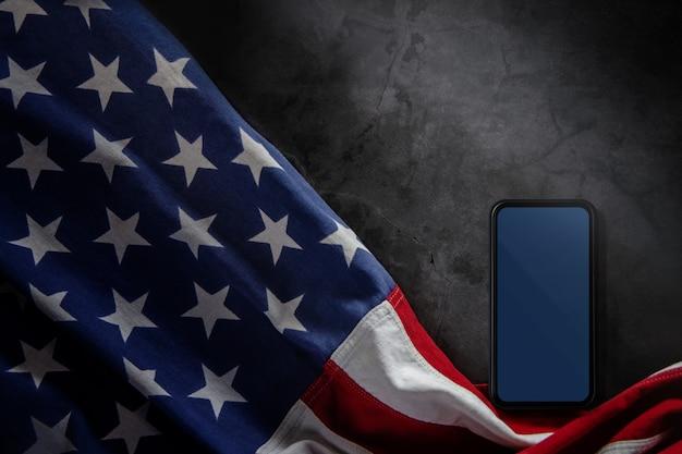 Blank mobile screen for mockup and usa flag