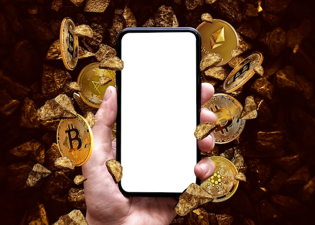 Blank of mobile screen phone on crypto coins background