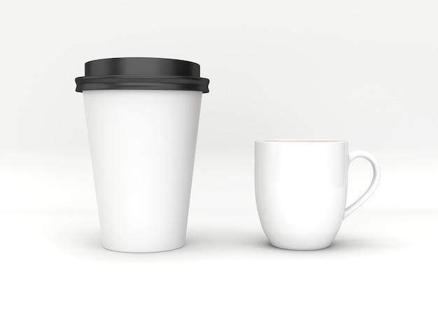 Пустой макет чашки кофе на белом фоне.